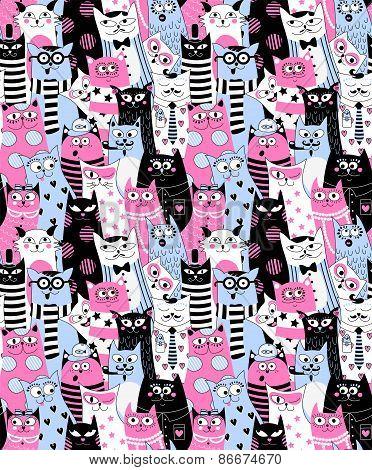 Cartoon Cats seamless background