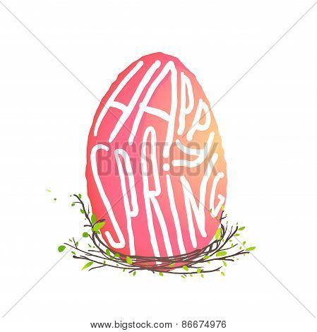 Single Easter Egg with Nest Floral Decoration in Watercolor Style