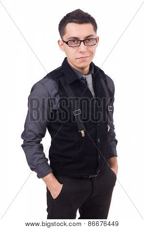 A young man wearing suit isolated on white