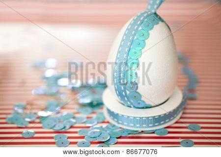 sequins hand-decorated Easter egg