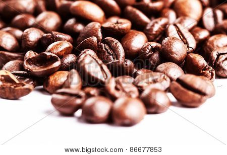 Roasted Coffee Beans Background Texture Isolated On White Background