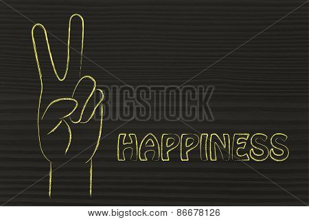 Illustration Of An Hand Making The V Sign: Concept Of Happiness And Joy