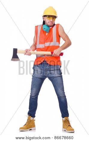 Foreman with axe isolated on white