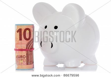 Piggy Bank With Money Roll