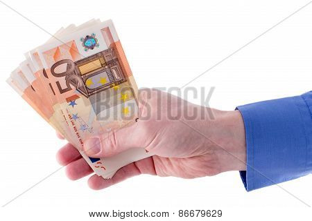 Stack Of Fifty Euro Banknotes In  Hand