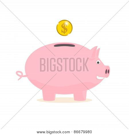 Piggy Bank With A Gold Coin