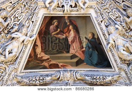 SALZBURG, AUSTRIA - DECEMBER 13: Fragment of the dome in the Chapel of Saint Ann, Salzburg Cathedral on December 13, 2014 in Salzburg, Austria.