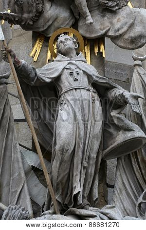 VIENNA, AUSTRIA - OCTOBER 10: Saint John of Capistrano. Sculpture of on the cathedral in Vienna, Austria on October 10, 2014.
