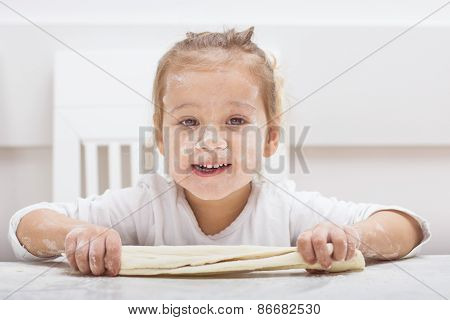 Little Girl Have Fun With Kneading Dough