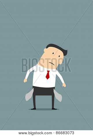 Cartoon sad businessman with empty pockets