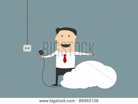 Cartoon businessman connecting personal cloud