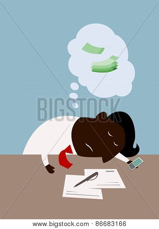 Cartoon black businessman dreaming about money