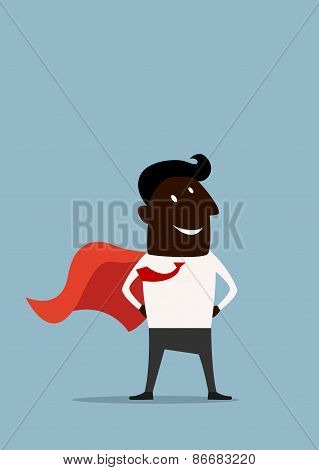 Cartoon african american superman hero businessman