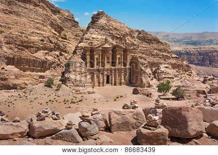 The Al-dayr Tomb Or Monastery Part Of The Petra Complex In Jordan