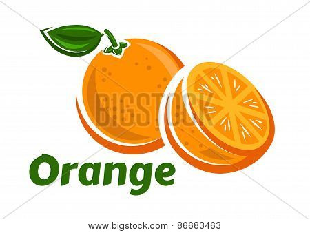 Whole and half of orange fruits