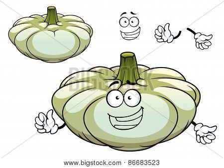 White pattypan squash vegetable cartoon character