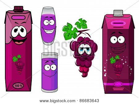 Smiling violet grape juice cartoon characters