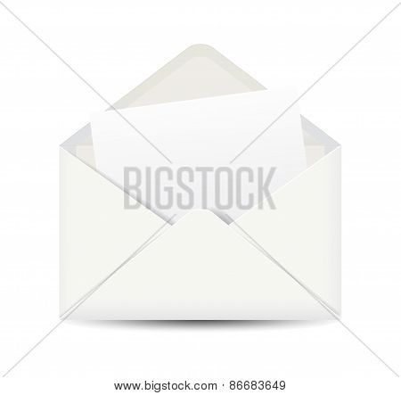 White open envelope isolated on white background