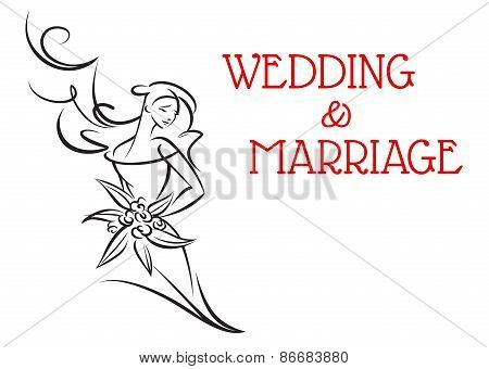 Marriage background with bride girl silhouette