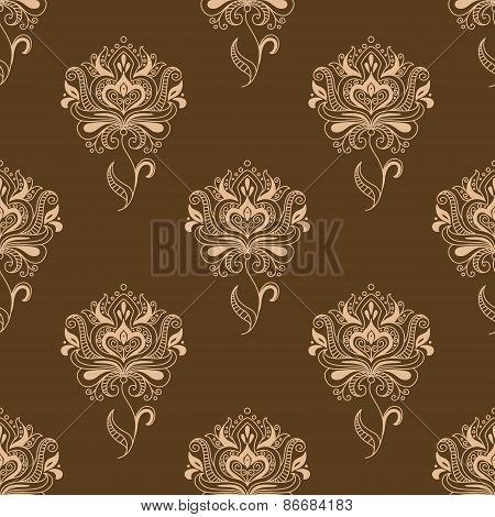 Oriental dainty paisley flowers seamless pattern