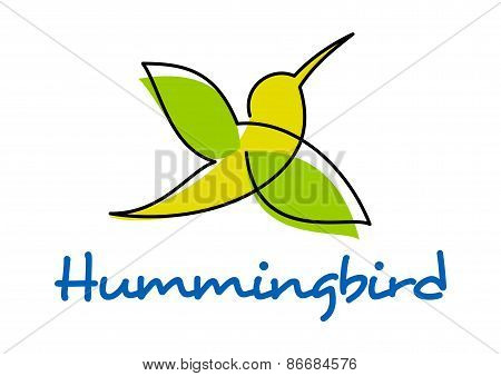 Unusual silhouette of flying hummingbird