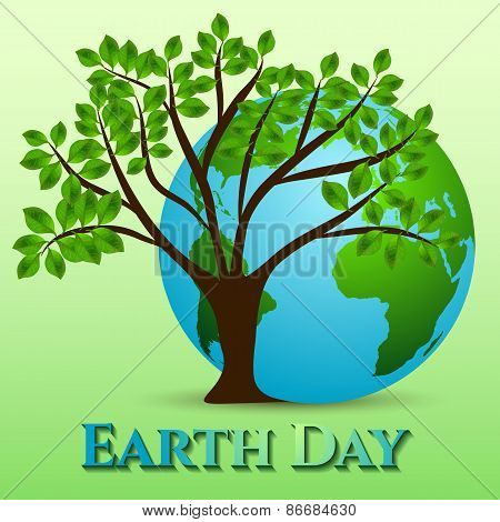 Postcard On April 22 - Earth Day. Globe With Green Tree On Green