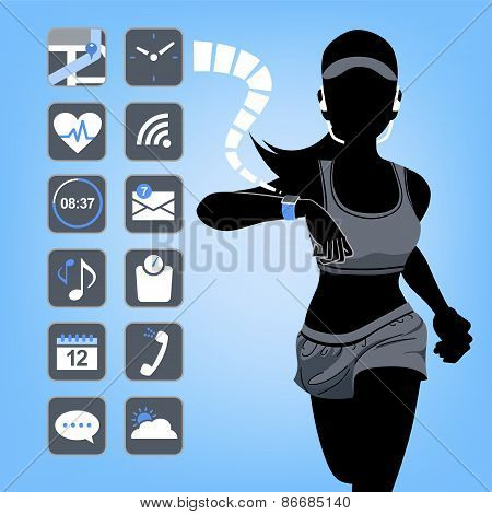 Smart Device Concept - Fitness Woman With Blue Background
