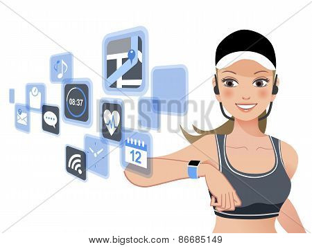 Fitness Woman And Smart Watch Device