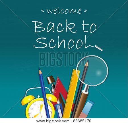 Welcome back to School design on blue background with school supplies