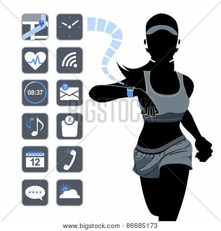 Smart Device Concept - Fitness Woman