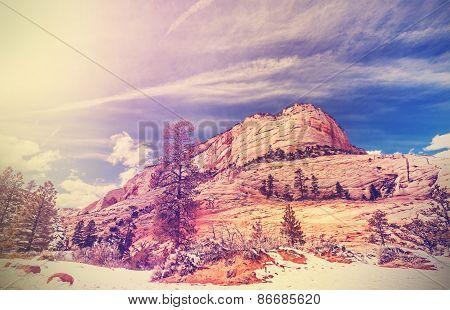 Vintage Stylized Mountains In Zion National Park.