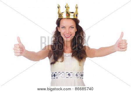 Girl in white dress and crown isolated on white