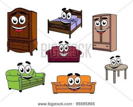 Happy sofas, cupboards, table, bed cartoon characters