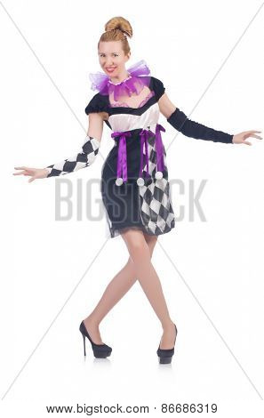 A girl in harlequin costume isolated on white