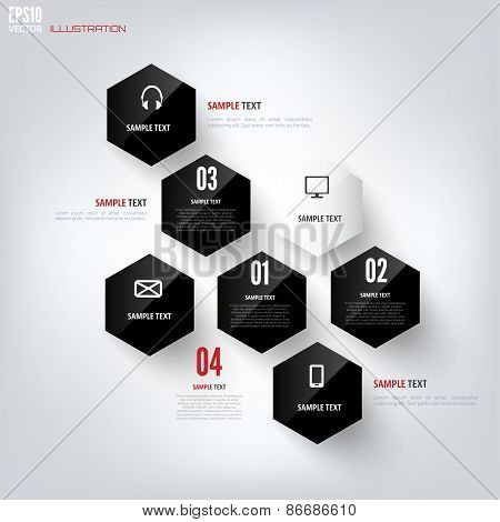 Black cloud computing background with web icons. Social network. Mobile app. Infographic elements.