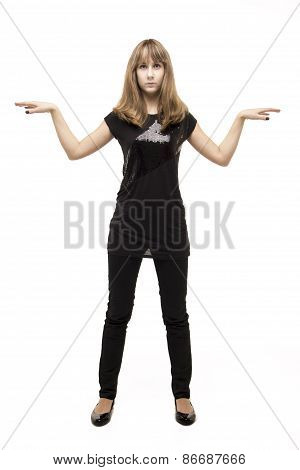 Young Girl Standing In The Studio Isolated