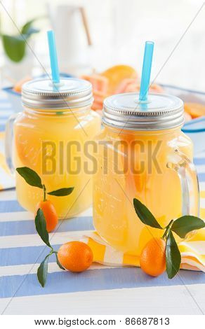 Orange Juice In Vintage Jars