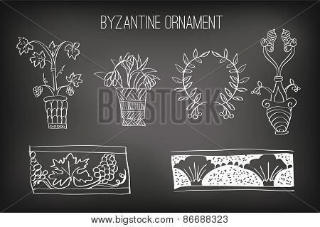 Byzantine Ornament Painted White Chalk