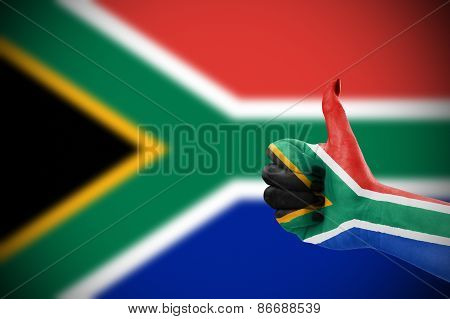 Flag Of Republic Of Republic Of South Africa On Hand