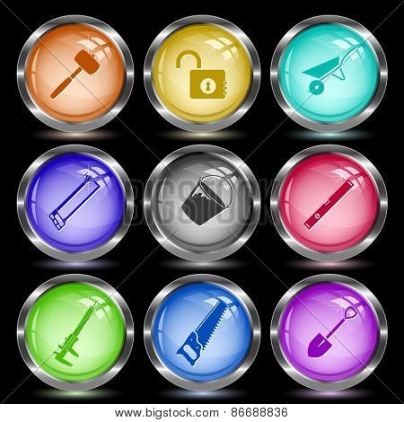 Industrial tools set. Internet button. Vector illustration.