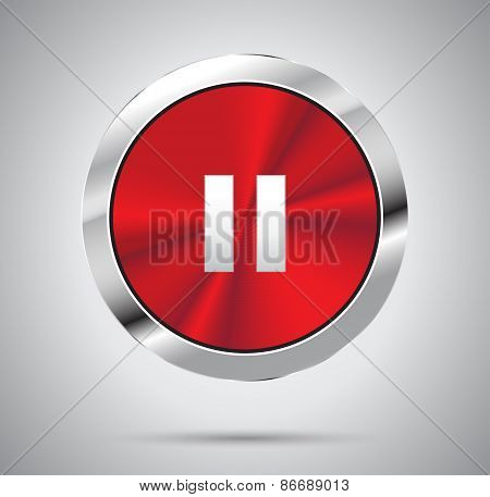 Shiny red metal media Pause Button, round shape