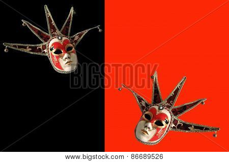 Venetian Masks On A Black And Red Background.