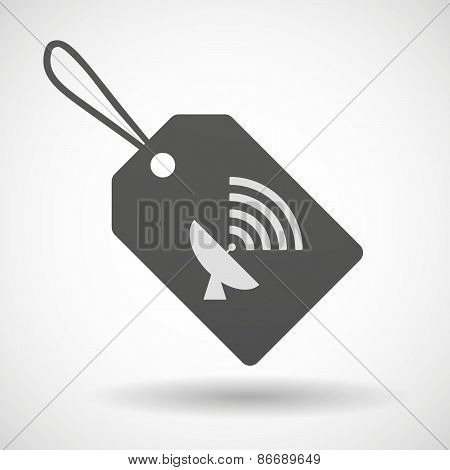 Shopping Label Icon With A Satellite Dish