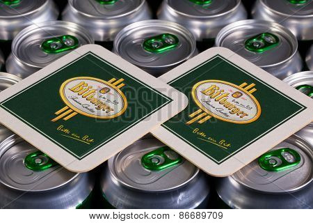 Pattern From Much Of Drinking Cans Of Beer And Bitburger   Beermats.