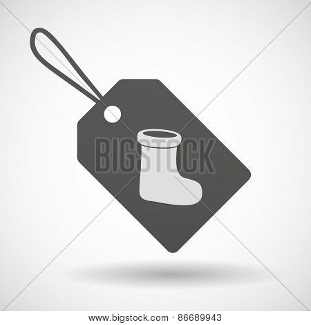 Shopping Label Icon With A Christmas Sock