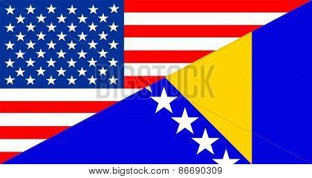 Usa Bosnia And Herzegovina Flag