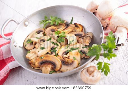 grilled mushrooms and parsley