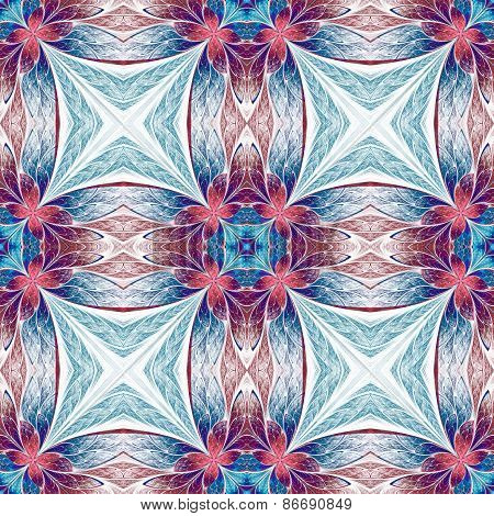 Symmetrical Flower Pattern In Stained-glass Window Style On Light. Blue, Pink And Purple Palette. Co