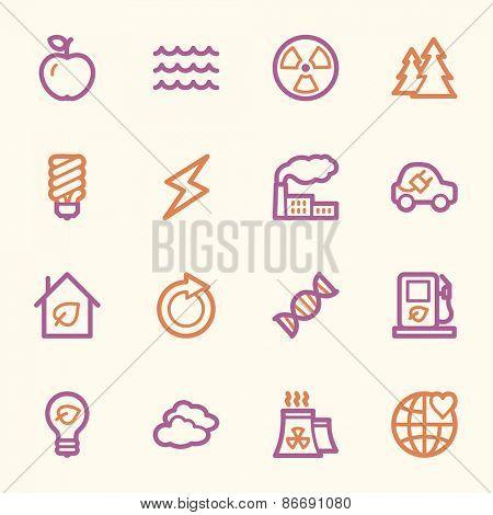 Ecology web icons set