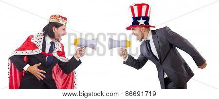 Men with loudspeaker and american hat